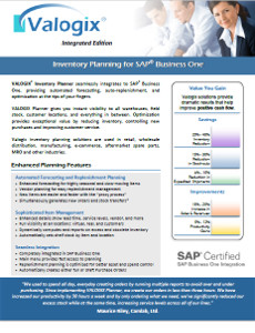 Inventory Planner for SAP Business One by Valogix